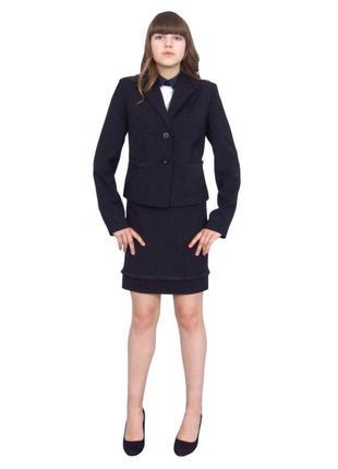 Пиджак школьный для девочки м-1090 рост 116 128 134 140 146 152 158 164 и170 черный