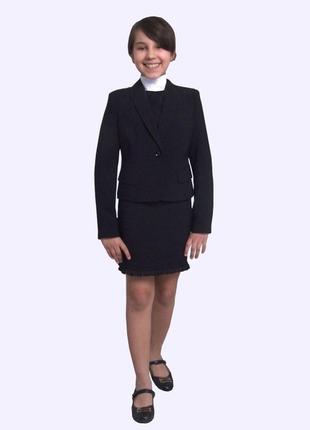 Пиджак школьный для девочки м-1089 рост 116 122 128 134 140 146 152 158 164 и 170 черный