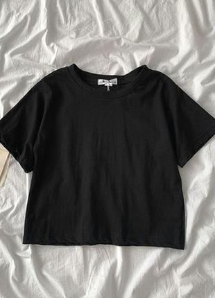Женский стильный базовый кроп топ   цвет черный размер s