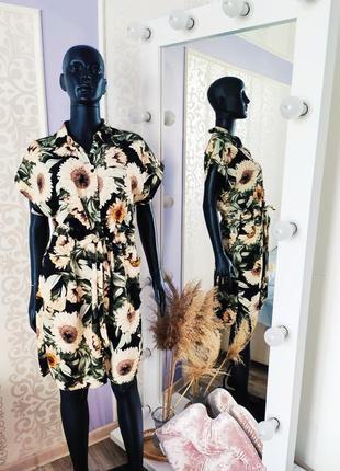 Невероятное платье сарафан рубашка с карманами в цветовой принт💐