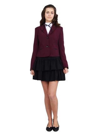 Пиджак школьный для девочки м-515 рост  140 146  бордовый тм