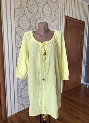 Шикарная лёгкая блузка в лимонном цвете