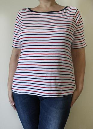 Стильная хлопковая футболка в полоску marks & spencer