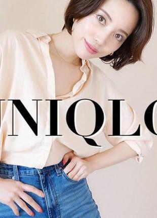 Рубашка лен-район linen blend 3/4 от uniqlo япония