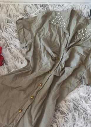 Рубашка хаки с расшитым воротником, блузка котоновая хаки