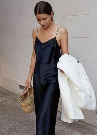 Платье плаття сарафан слип дресс макси миди комбинация черное с разрезом новое