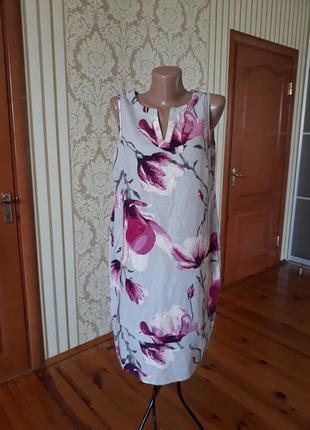 Нежное лёгкое льняное платье с рисунком магнолии