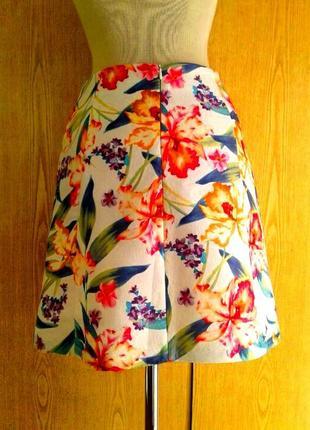 Яркая юбка 8-миклинка на лето из тисненной ткани, хлопок, s- м.