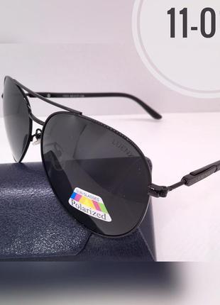 Солнцезащитные очки авиаторы черные линзы polarized luenix