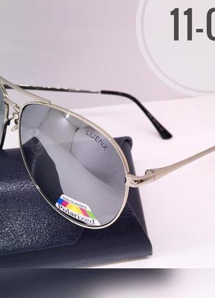 Солнцезащитные очки авиаторы зеркальные металлик линзы polarized luenix