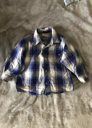 Детская рубашка в клетку h&m разм. 80 (германия)