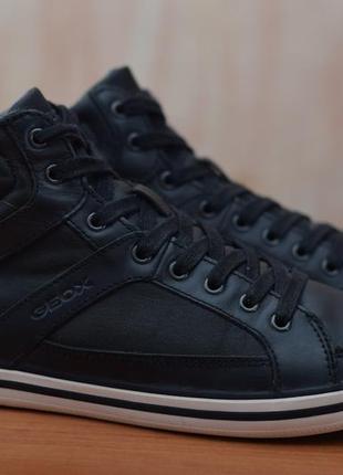 Черные кожаные высокие кроссовки, кеды geox, 40-41 размер. оригинал