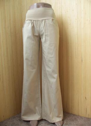 Льняные брюки с мягким трикотажным поясом-резинкой 36-38