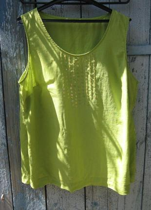 Блуза майка топ батал декор 100% полированный лен