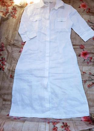Льняное льон лён платье  рубашка миди