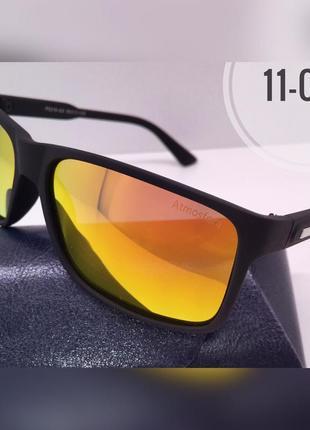 Солнцезащитные очки atmosfera черные матовые  линзы зеркало polarized