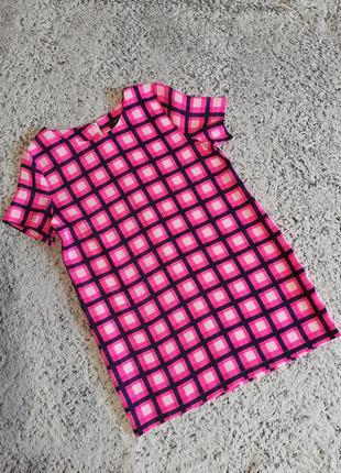 Яркое платье, платье в клетку. розовая клетка,  платье шифт, ax