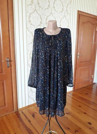 Нежное шифоновое платье  туника в принт