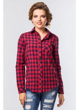 Модная рубашечка с синим и красным в клетку