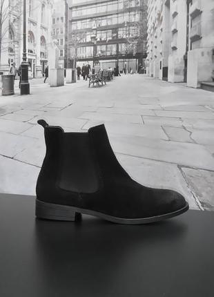 Ботинки челси из натуральной замши европейского бренда in shoes черные, р. 38