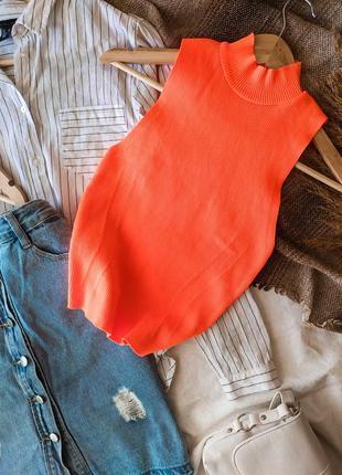 Ядовый неоновый оранжевый  укороченный  кроп топ в рубчик zara