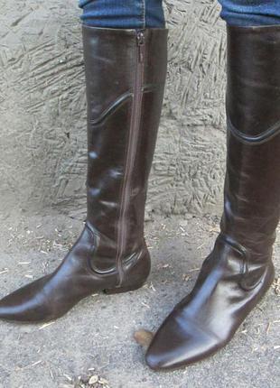 Сапоги zara кожа 40-41 размер демисезон