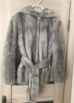 Шуба автоледи saga furs,голубая норка