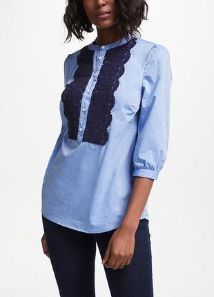 Хлопковая блузка рубашка с кружевом решилье
