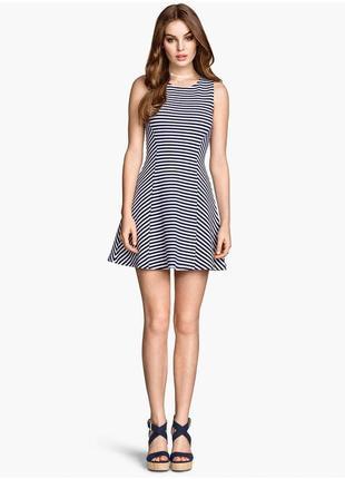 H&m стильное мини платье в полоску, в составе хлопок, р.34-xs