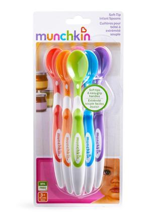 Munchkin ложки пластиковые 6 шт. 3+. в наборе 6 детских ложек
