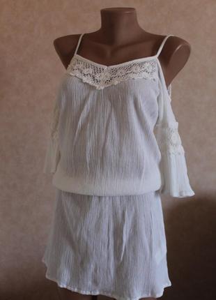 Happy holly белое платье, летнее, на худышку, или девочку подростка, хлопок, коттон