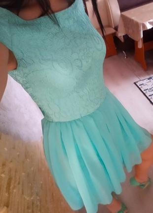 Платье нарядное бирюза