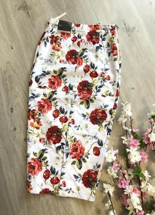 Классная стрейчевая юбка карандаш с цветами, юбка миди
