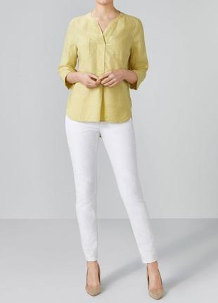 Оливковая льняная блузка рубашка