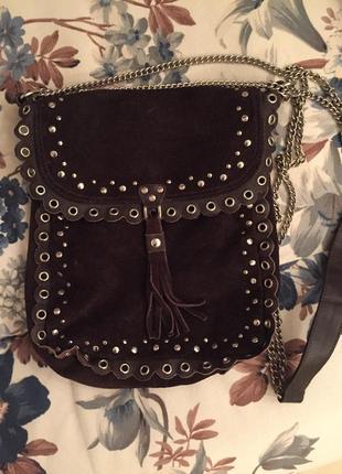 Замшевая сумка через плечо кросс боди