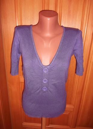 Блуза акрил  вискоза фиолетовая стильная приталенная  футболка р. s - vero moga