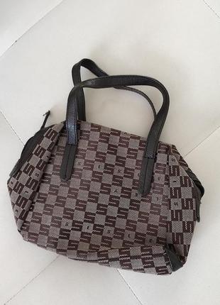Стильная винтажная сумка с короткими ручками sisley