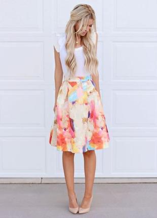 Жаккардовая юбка-миди в пастельный цветочный принт