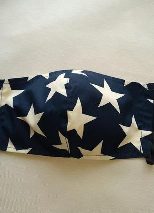 Синяя маска со звездами,женская маска,защитная маска с ткани
