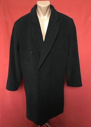 Пальто кашемировое шерстяное натуральное в елочку