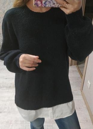 Теплый приятный свитер-рубашка
