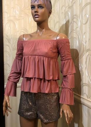 Блуза/волан со спущенными плечами, asos, размер 34/xs-s