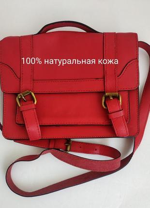 Кожаная сумка zara  через плечо