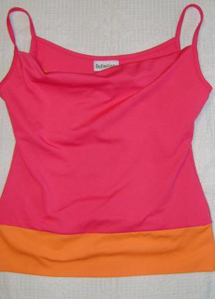 Яркая майка, оранжевый и розовый цвет, размер s, фирма definitions
