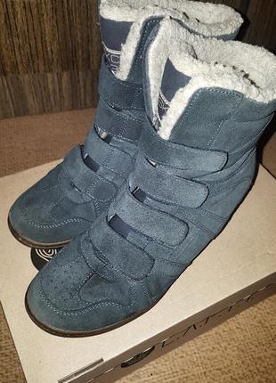 Замшевые сникерсы  (ботинки на танкетке)