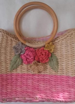 Плетеная сумка-корзинка per una