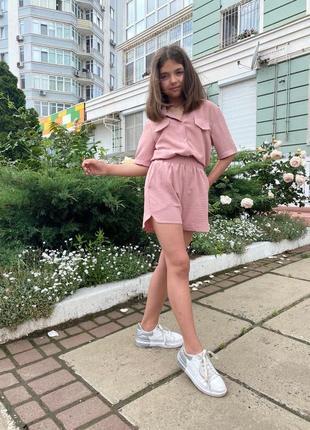 Летний костюм для девочки рубашка и шорты пудра розовый