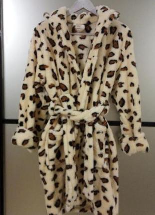 Женский махровый халат леопард, в наличии размеры