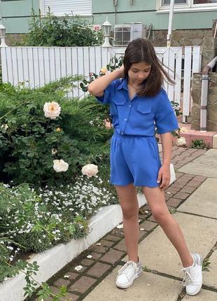 Летний костюм для девочки рубашка и шорты синий