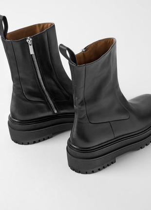 Кожаные ботинки ботильоны zara